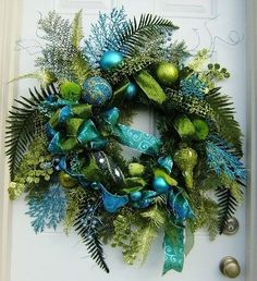 Large Turquoise and Lime Green Winter/Christmas Wreath by rhoda…