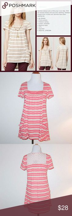 Meadow Rue Pink Striped Marin Tunic ?Striped Marin Tunic? Pink striped tunic with lace inset at back and smocked detail front Adorable front pockets 63% Cotton, 37% Polyester Machine wash Made in Vietnam  Measurements: Bust: 36? Waist: 38? Sleeve Length: 6? Overall Length: 29? Anthropologie Tops Tunics
