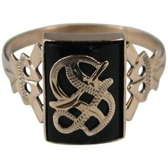 """Preowned Victorian Gothic """"s"""" Onyx Gold Initial Ring (26,400 EGP) ❤ liked on Polyvore featuring jewelry, rings, black, signet rings, onyx ring, gold letter rings, yellow gold rings, goth rings and gothic jewelry"""