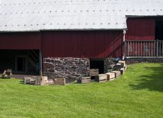 The barn. The kitchen crew is hard at work on the ground level preparing the feast. Guests were seated in the level above.