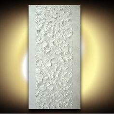 ORIGINAL Perle Weiß-Malerei große abstrakte von ModernHouseArt