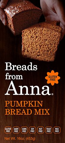 Gluten-Free Pumpkin Bread MixThis is a deliciously spiced bread. Like all the other Breads From Anna® mixes, it has a very moist and smooth, non-grainy, non-crumbling texture. Many customers use this mix and the Gluten-Free Banana Bread Mix. Gluten Free Bread Mix, Gluten Free Pumpkin Bread, Keto Bread, Gluten Free Baking, Bread Baking, Gluten Free Recipes, Baking Soda, Pumpkin Bread Mix, Pumpkin Cake Recipes