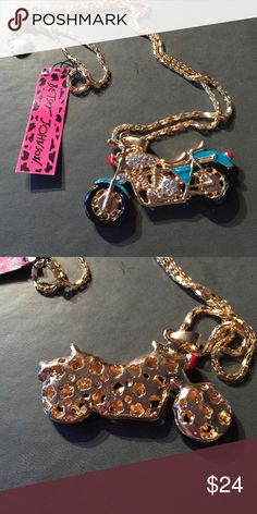"Betsey Johnson Crystal Motorcycle Necklace New with tags 28"" Betsey Johnson Jewelry Necklaces"
