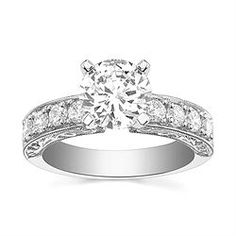 Style 64-S10008 Engagement Ring with 0.56CT side diamonds. 14K yellow or white gold.