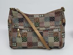 SAS Handsewn handbag tapestry and leather gold threads 3 zippered compartments #SAS #ShoulderBag