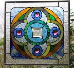 """Stained Glass Window Panel """"Circular Groove"""""""