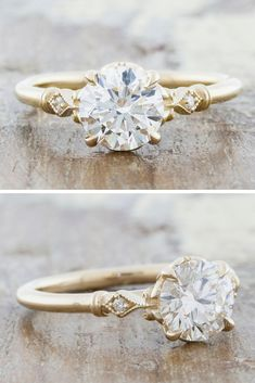 Sweet, elegant and vintage-inspired Emma features a rare Old European round cut diamond, flanked with two smaller diamonds in a sandblasted gold band. by Ken & Dana Design. Diamond Cluster Engagement Ring, Pearl And Diamond Ring, Vintage Engagement Rings, Vintage Rings, Most Beautiful Engagement Rings, Beautiful Wedding Rings, Band Engagement Ring, Black Diamond, Dream Wedding