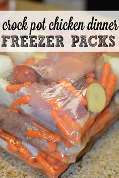 Crock Pot Freezer Packs: One Pot Chicken Dinner- One of our favorite slow cooker meals with easy instructions on how to prepare freezer packets ahead of time and toss into crockpot in the morning.