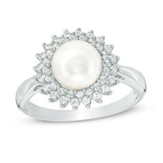 Zales 8.0 - 8.5mm Cultured Freshwater Pearl and Lab-Created White Sapphire Vintage-Style Ring in Sterling Silver EPBZOIgOqk
