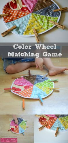 DIY Color Matching Game tutorial and pattern for Preschoolers and Toddlers on www. Makes an awesome handmade Christmas gifts idea! Preschool Colors, Preschool Games, Toddler Preschool, Toddler Activities, Color Activities, Color Wheel Matching, Diy For Kids, Gifts For Kids, Matching Games For Toddlers