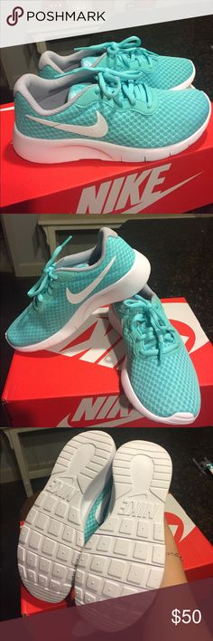 BNWT girls turquoise Nikes!!!!! Thank is a GORGEOUS pair of BNWT girls Nikes in a size  3 youth ! They come with the box . The color is a light turquoise / Tiffany blue . The color in picture is accurate . I am open to offers 🤗 Nike Shoes Sneakers