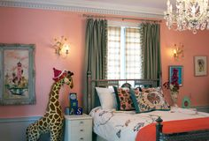 Sophisticated Pink Girl's Bedroom with Chandelier