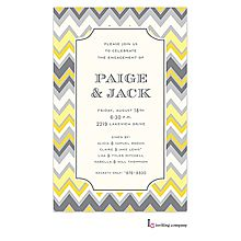 Modern Couples baby shower invitation with gray and yellow zig zag chevron stripes. Use any wording. from Little Angel Announcements