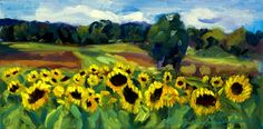 Sunflower Field-Plein air painting I did at Sugartown Strawberries   all my work can be seen and purchased at www.MoniqueKendikianSarkessian.com