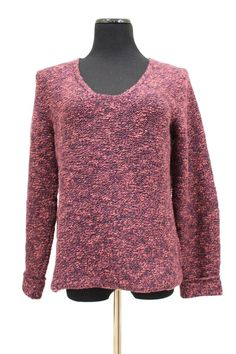 Eileen Fisher VNeck Purple Flecked Chunky Cotton Sweater Size M