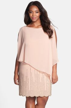 Chiffon Overlay Beaded Jersey Dress (Plus Size)