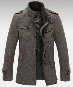 Knitted Stand Collar Wool Blend Tweed Coats Long Jackets Wool Jackets d0d7cb75cd658