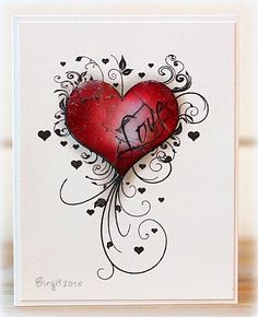 Love by Biggan - Cards and Paper Crafts at S. Love by Biggan – Cards and Paper Crafts at Splitcoaststampers Zentangle Drawings, Zentangle Patterns, Tattoo Drawings, Art Drawings, Heart Painting, Heart Wallpaper, Watercolor Cards, Heart Art, Love Cards