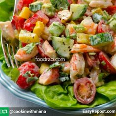 Greek Yogurt Shrimp, Avocado and Tomato Salad by Olena @ifoodreal Gluten free Ingredients: 1 lb cooked frozen shrimp or 12 oz thawed & drained, cut in halves 1 cup grape tomatoes, sliced in halves 2 medium bell peppers, coarsely chopped 2 medium avocados, cubed 1/2 long English cucumber, cubed 1/2 cup cilantro, chopped Greek Yogurt Dressing: 1/2 cup Greek yogurt 2 tsp apple cider vinegar 1 tiny garlic clove 1/3 tsp salt 1/2 tsp black pepper Directions: Add Greek Yogurt Dressing ingredients…