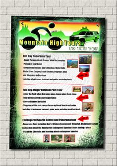 Flyers printing and design. National Park Tours, Kruger National Park, Flyer Printing, Commercial Art, Flyers, Digital, Day, Prints, Design