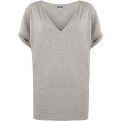 Erin V-Neck Baggy T-Shirt ($18) ❤ liked on Polyvore featuring tops, t-shirts, light grey, v neck t shirts, short sleeve v neck t shirt, baggy t shirt, loose t shirt and loose fit t shirts