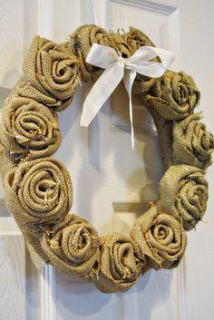 burlap rose wreath