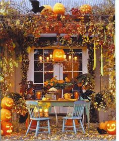 old painted table and chairs in the midst of fall beauty...love...