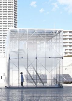 Tetsuo Kondo Architects created a small bank of clouds in the Sunken Garden of the Museum of Contemporary Art Tokyo.