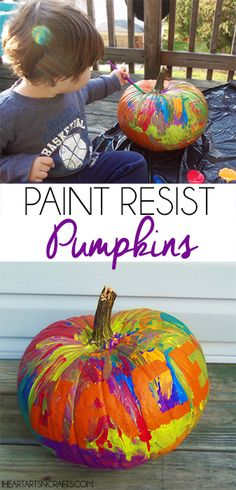 Paint Resist Pumpkins | Easy Pumpkin Decorating For Toddlers