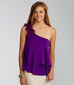 GB OneShoulder Tiered Knit Top #Dillards