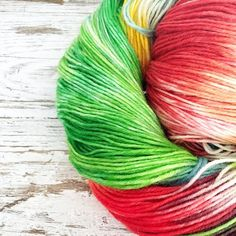 This was one of the last skeins of yarn I dyed before we came away. I was testing the dyes in the yarn kits just seeing what's possible. I love these bright greens and red - like a parrot!  The kits contain everything you need to dye your own yarn and create a beautiful one of a kind skein of yarn for a special project. Link in profile.