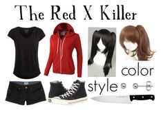 """""""Creepypasta (Oc) redo"""" by ironically-a-strider21 ❤ liked on Polyvore featuring moda, LE3NO, Aéropostale, Pieces, Converse, Coshome, J.A. Henckels, women's clothing, women's fashion y women"""