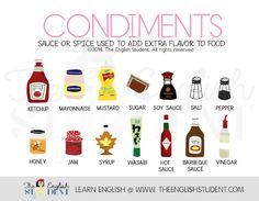 The English Student, www.theenglishstudent.com, theenglishstudent, the english student website, english student, english students, condiments, what are condiments, popular condiments, wasabi, ketchup or mustard, ESL vocabular, ELL, learn english, ESL taste, teaching about food and taste