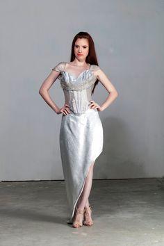Asymmetrical Skirt Wedding Skirt Silver Skirt Prom by BridalStars