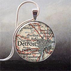Detroit map pendant, Detroit jewelry resin pendant, Detroit map necklace jewellery. $8.95, via Etsy.