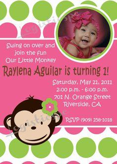 Mod Monkey Girl Birthday Invitation By PcExpressDesigns 1350 Invitations Printable
