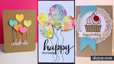 Need easy DIY birthday card ideas or free printables Birthdays? Cool homemade cards to make for Mom or Dad, kids & adults, husband, wife or friends. Creative Birthday Cards, Diy Birthday Invitations, Birthday Cards For Her, Handmade Birthday Cards, Birthday Diy, Creative Cards, Creative Ideas, Card Birthday, Birthday Ideas