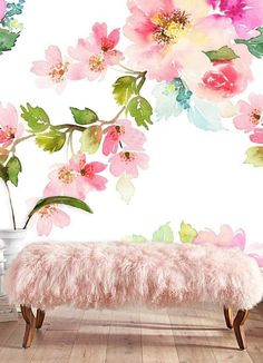 floral wall mural removable wallpaper floral watercolor