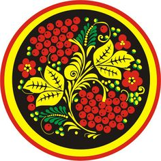 Folk Khokhloma painting from Russia. A round pattern with ashberries in black, red, yellow and green colours. Russian Folk, Russian Art, Green Colors, Colours, Polish Folk Art, Kinds Of Shapes, Arts And Crafts Movement, Ancient Civilizations, Artwork