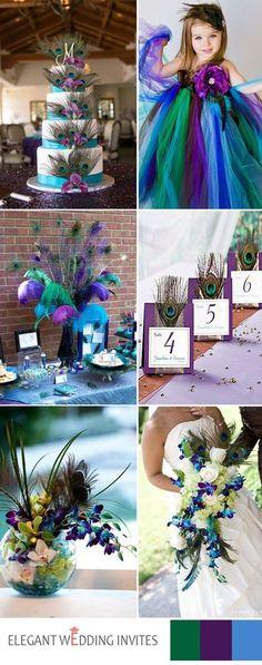 colorful peacock themes wedding ideas
