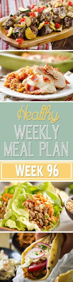 A delicious mix of healthy entrees, snacks and sides make up this Healthy Weekly Meal Plan for an easy week of nutritious meals your family will love! Healthy Weekly Meal Plan, Healthy Menu, Healthy Eating, Healthy Recipes, Weekly Menu, Healthy Options, Healthy Foods, Cooking Recipes, Meal Prep Plans