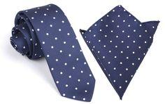 Matching Skinny Tie + Pocket Square Combo Navy Blue with White Polka Dots (X325-ST6+PS) Men's Handkerchief + Slim Ties Thin Narrow Wedding on Etsy, $37.32