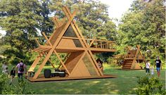 glamping mod perfect for nature camping resort model max obj skp 3 Camping Resort, A Frame House Plans, A Frame Cabin, Tiny House Cabin, Tiny House Design, Triangle House, Bamboo House, Little Houses, Play Houses