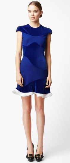 Swoon! Alexander McQueen Organza Trim Velvet Dress