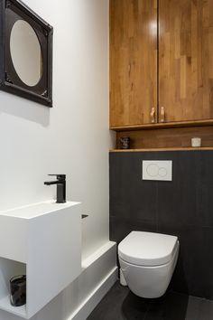 Small Downstairs Toilet, Small Toilet Room, Small Bathroom, Bathrooms, Toilet Paper Storage, Stair Storage, Bathroom Interior Design, Powder Room, House Design
