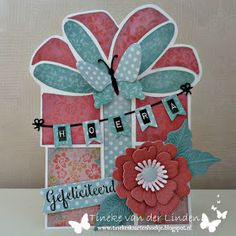 Tineke's kaartenhoekje: Hoera...gefeliciteerd! Shaped Cards, Marianne Design, Tim Holtz, Box, Stencils, Scrap, Shapes, Holiday Decor, Card Ideas