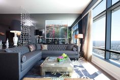 Living Room with Grey Sofa for Elegant Look in Style: Eclectic Living Room Design Overlooking Great City View Decorated With Gray Sectional Sofa And Marble Coffee Table ~ SFXit Design Living Room Inspiration Eclectic Living Room, Transitional Living Rooms, Living Room Designs, Living Room Decor, Living Spaces, Sofa Design, Interior Design, Eclectic Design, Grey L Shaped Sofas