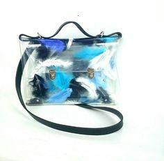 Feathers messenger bag black office bag  blue by YPSILONBAGS