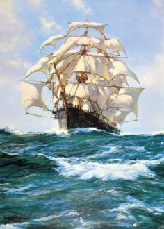 One of the best sailing ship paintings///Montague Dawson - Montague Dawson, Bateau Pirate, Old Sailing Ships, Ship Of The Line, Ship Paintings, Stormy Sea, Nautical Art, Ship Art, Tall Ships