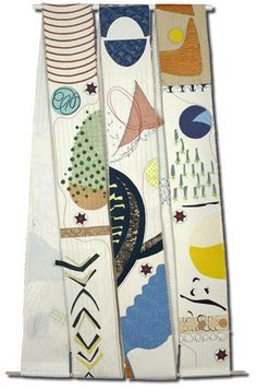 Roo kRoad (side 2 ) quilt by Elizabeth Brimelow - scroll hung as a double-sided quilt 190x91cm 2010 #fiber_art #quilting #textiles